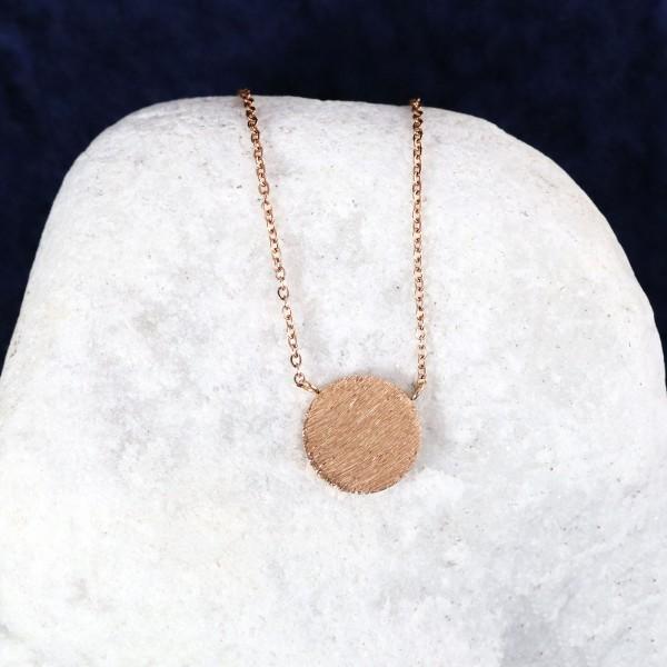 Roségoldene Halskette mit gebürsteter Platte