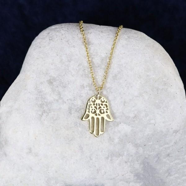 Goldene Halskette mit Hand der Fatima