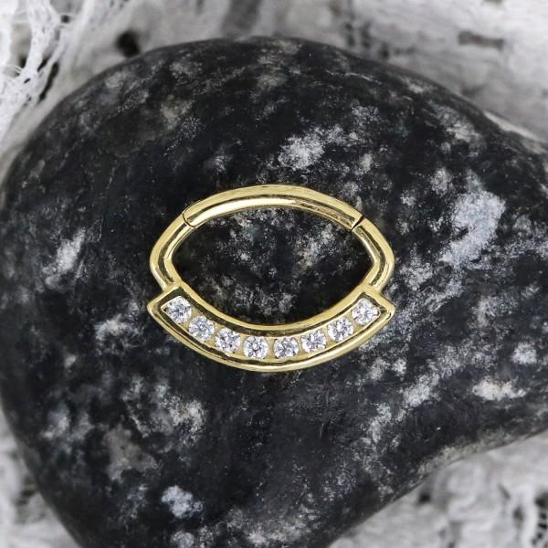 Ovaler Clicker aus 18 Karat Echtgold mit Swarovskisteinen
