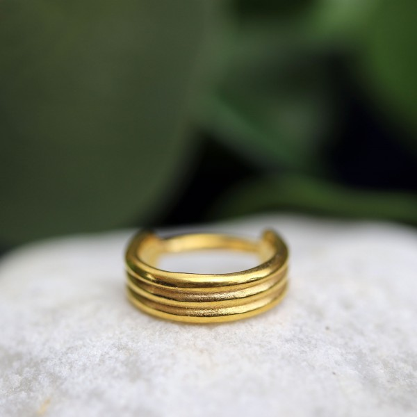 Dreireihiger Clickring 24k. Gold