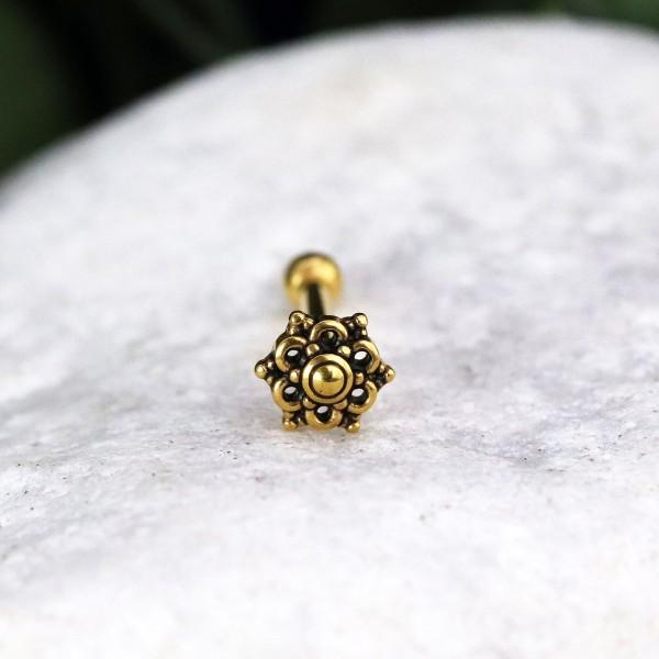 Innengewinde mit Ornament Blüte 24K. Gold