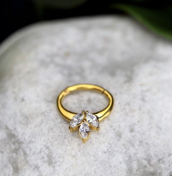 Ovaler Clickring mit Glitzersteinen 24.K Gold