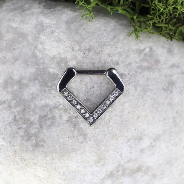 Clickring in Diamantform mit Glitzersteinen