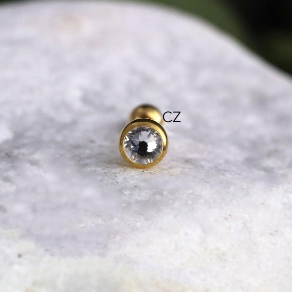 Schraubkugel aus Chirurgenstahl mit Glitzerstein 1,6mm Gewindestärke Gold