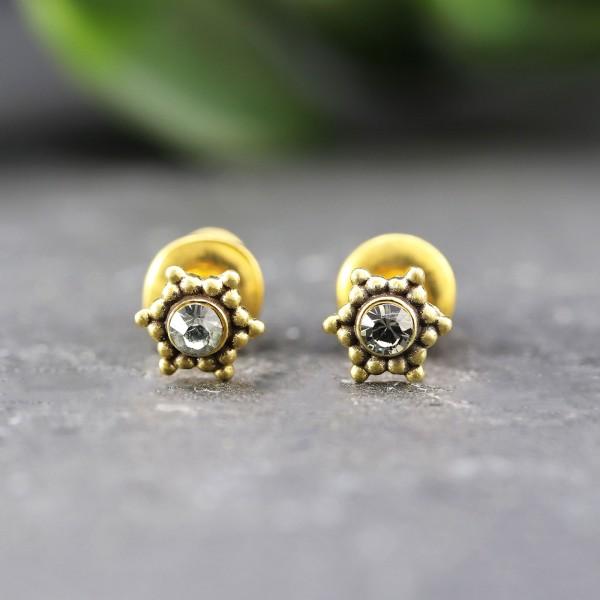 Goldene Ohrringe in Sternenoptik mit Swarovskistein