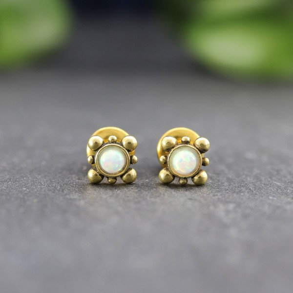Vintage Ohrringe mit Opal