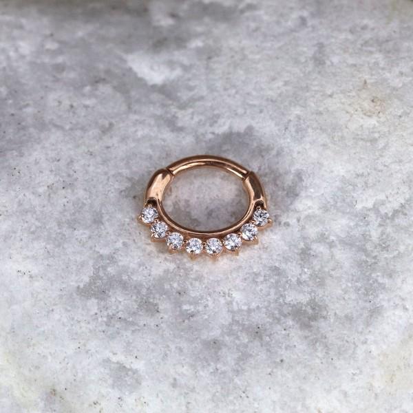 Ovaler Clickring mit Glitzersteinen Rosé