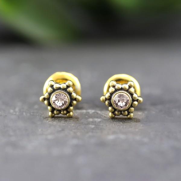 Goldene Ohrringe in Sternoptik mit Swarovskistein