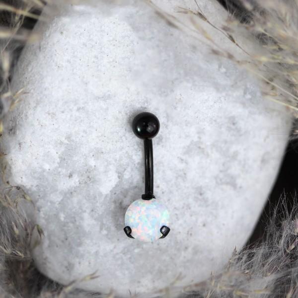 Bauchnabelpiercing mit Opal Schwarz