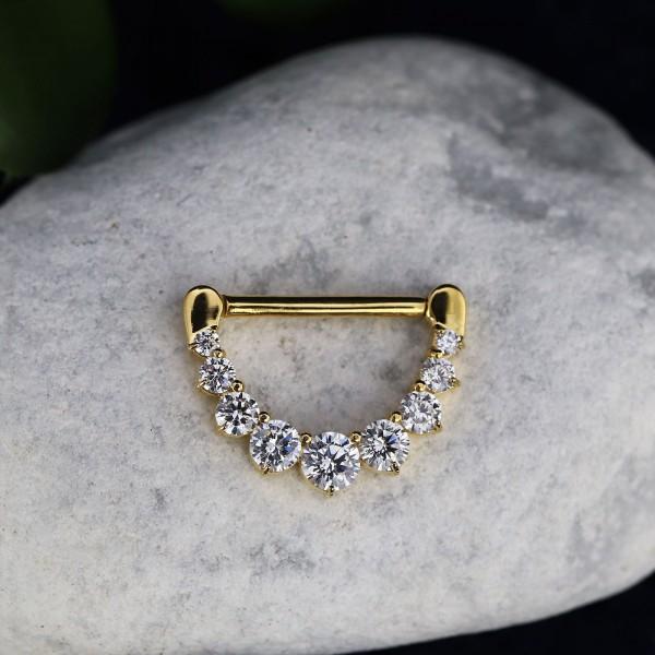 Brustclicker mit Zirkoniasteinen Gold