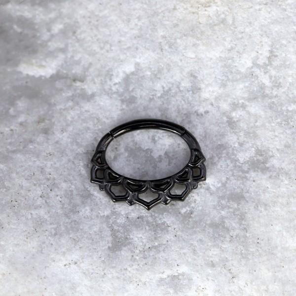 Ovaler Clicker mit Ornament Schwarz